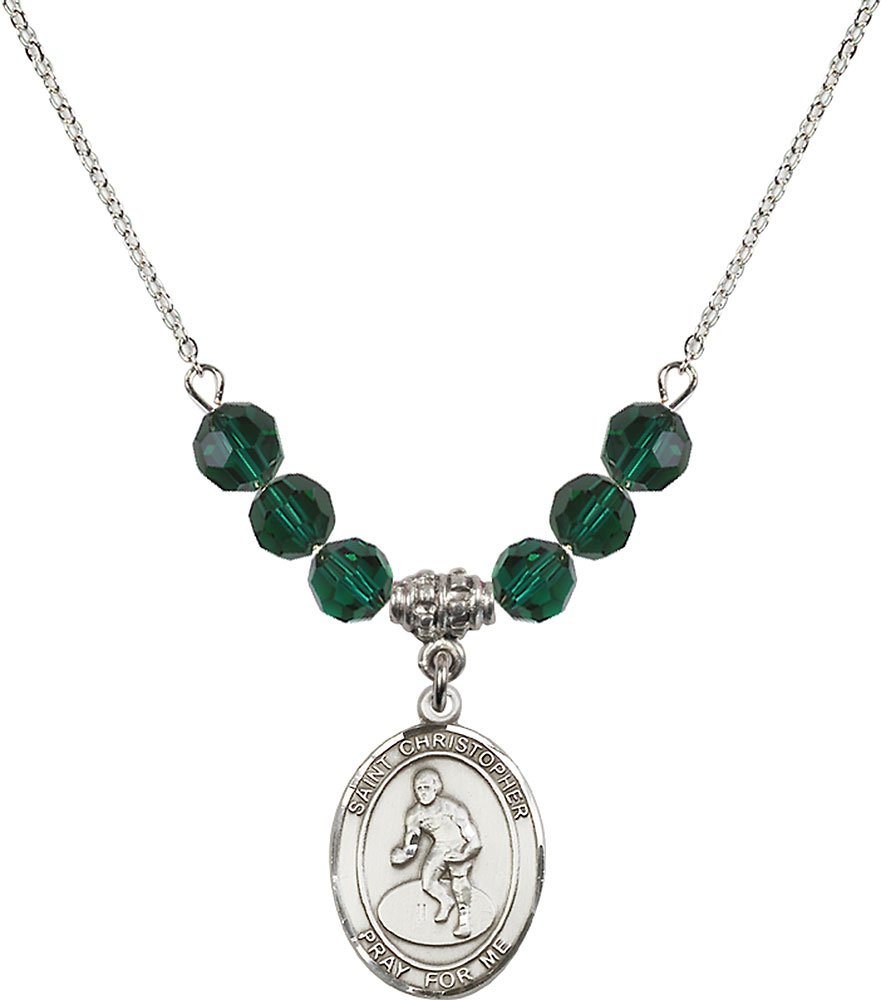Rhodium Plated Necklace with 6mm Emerald Birthstone Beads & Saint Christopher/Wrestling Charm. by F A Dumont