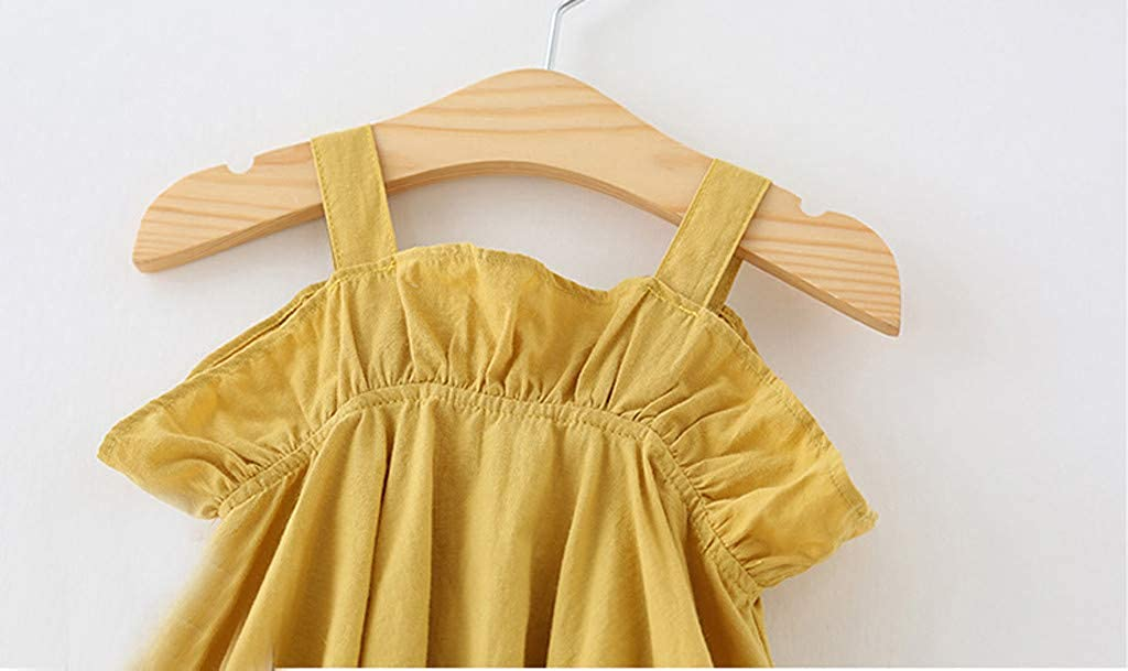 Sleeveless Casual Ruffled Clothes Princess Party Strap Lisin Toddler Kids Baby Girl Solid Dress