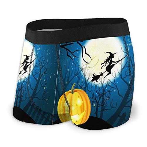 Appy Halloween Witch Pumpkin Boxer Briefs Men's Underwear Comfortable Breathable Trunks Briefs Underwear S-XXL Black