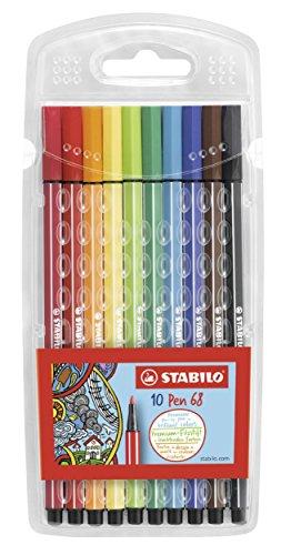 Stabilo Pen 68 Coloring Felt-tip Marker Pen, 1 mm - 10-Color Wallet Set