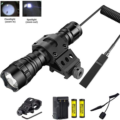 (BESTSUN Tactical LED Flashlight, Zoomable Super Bright 1200Lumens Waterproof Hunting Light Torch with Pressure Switch, Rail Rifle Offset Mount Picatinny AR, Spare 18650 Rechargeable Battery, Charger)