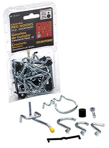 LeHigh Crawford 32-Piece Locking Peg Hook Assortment #1832A (2 Pack)