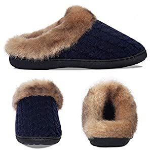 Inverno Pantofole Donna Uomo Ciabatte Peluche Scarpe da Casa Morbido Antiscivolo Caldo Comode Memoria Schiuma Pantofole per Interno Esterno