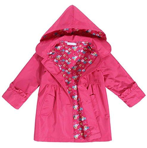 Raincoat Rainwear (PEATAO Girls Raincoat, Cute Kids Flower Waterproof Hooded Lightweight Coat Jacket Outwear Rainwear Coats Rose Red 120(4-5 Years))