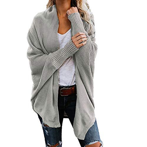 (Memela Clearance Sale!!Women's Long Sleeve Open Front Striped Knit Oversized Sweater Coats Loose Outwear (Gray, S))