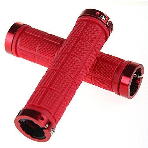 Relaxtime Rubber Bike Grips Double Lock on Bicycle Handlebar Grips (Red)