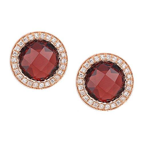 Revoni Bague en or rose 9ct-Diamant et Grenat Boucles d'oreilles clous
