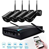 JOOAN HD1080P Wireless Security Camera System With 4CH NVR for Outdoor/Indoor Usage with Ir-cut Night Vision and waterproof Surveillance System (Black)