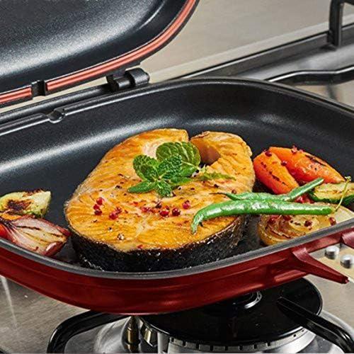 Paperllong Poêle à Frire Double Face antiadhésive Barbecue Outil de Cuisson Stable Durable et fiable Batterie de Cuisine adapté pour la Maison en Plein air