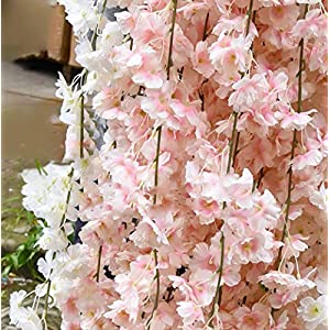 Gatton Artificial Cherry Blossom, Fake Cherry Blossom Flowers Pink Hanging Vine Silk Garland Wreath for ding Arch Decor ding Party Decor, 3 Pack | Model WDDNG - 2026 | 68