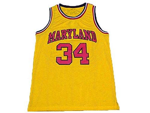 NO.34 Leonard Kevin Bias University of Maryland basketball jerseys embroidered logo mesh Need yellow L