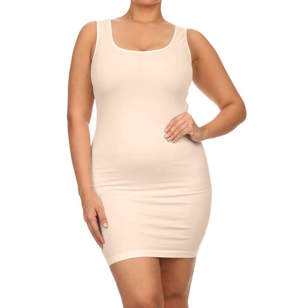 BAOHOKE Women's Oversize Low Cut Halter Bodycon Tank Tops Dresses, Sexy Casual Sleeveless Mini Summer Dress(Beige,S)