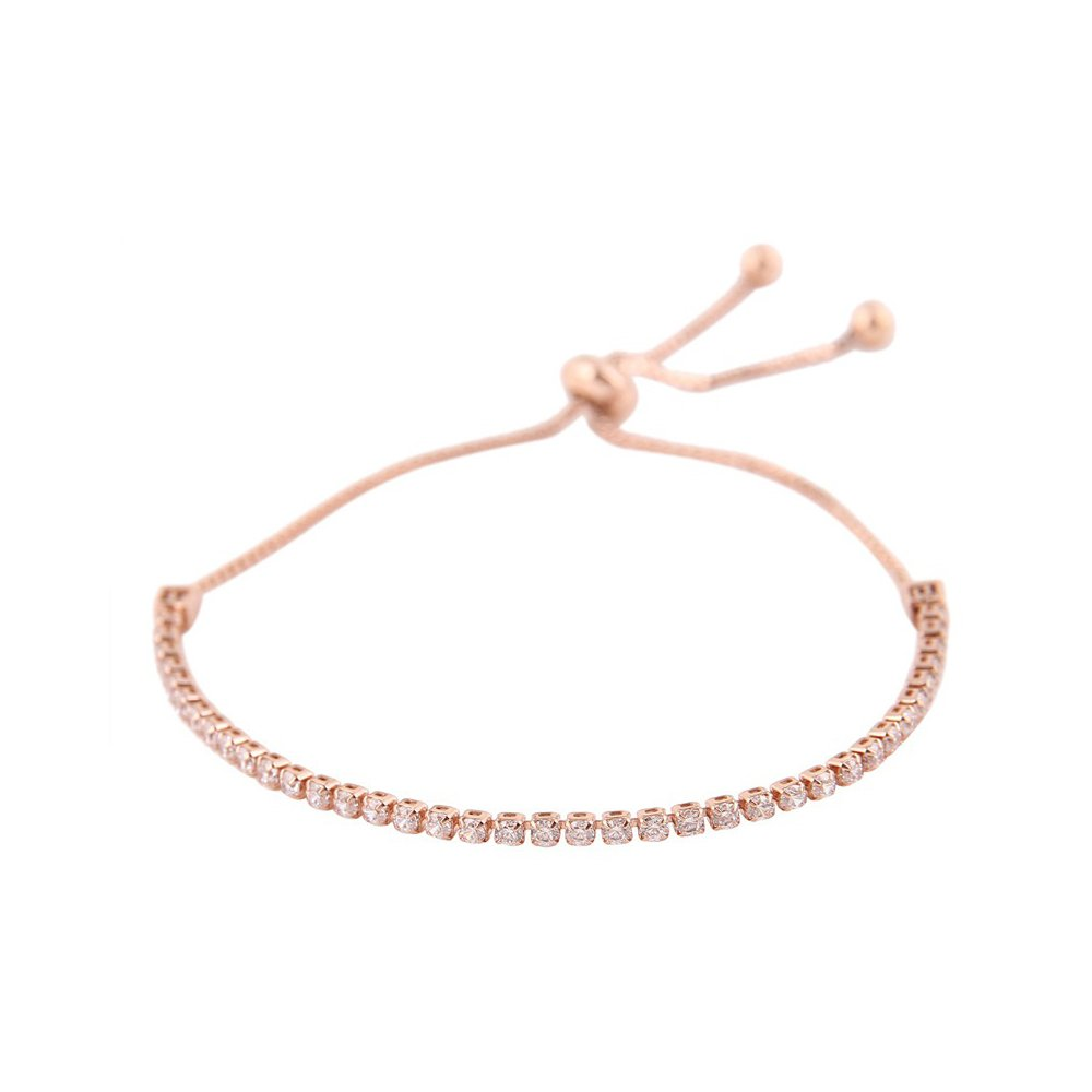 Rayley Sterling Silver Bezel Set Cubic Zirconia Adjustable Bracelet (Rose Gold)