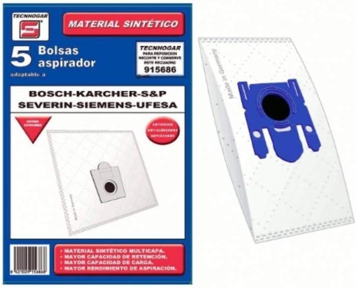 Recamania Bolsa Sintetica Aspirador Bosch Compatible con Siemens Ufesa 5 Unidades 915686: Amazon.es