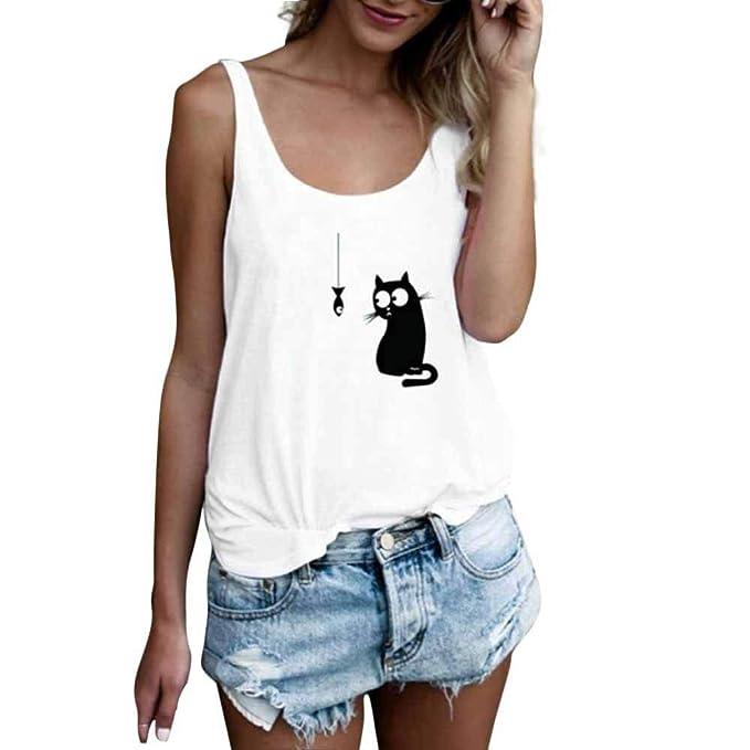 MEIbax Camisetas Corta Mujer Cuello Redondo sin Mangas con Estampado De Gato Originales Camisa sólido Moda
