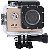 Acouto Wifi Sports Action Camera,2 Inch 4k 12MP 140°Angle with Waterproof Housing Case,Camera Frame,USB Cable,US Plug Adapter and more Accessories Kits (Gold)