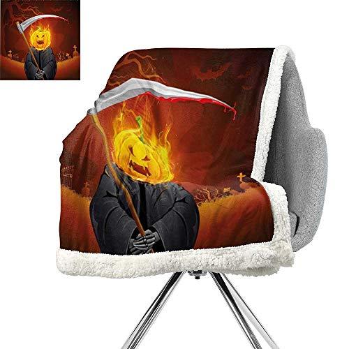 Halloween Decorations Cozy Flannel Blanket,Pumpkin Grim Head Burning Flames Character Scary Creature Nightmare,Orange Grey,All Season Blanket W59xL78.7 Inch -