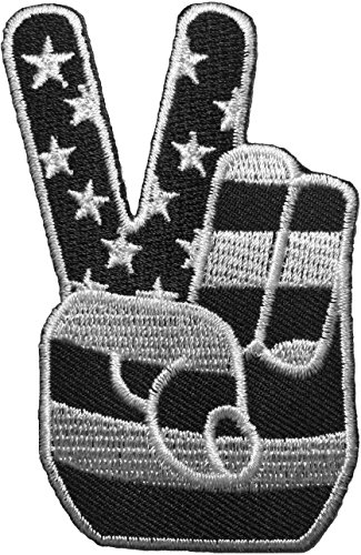 Two Finger Peace Sign with American Flag Embroidered Iron Sew On Patch - Black & White by Ranger Return ()