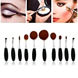 Yoyorule 10pcs Beauty Toothbrush Shaped Foundation Power Makeup Oval Cream Puff Brushes (Silver)