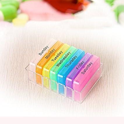 GreenSun (TM) Multicolor 7 días cajón estilo pastillero medicamentos dispensador de caja Tablet Organizador