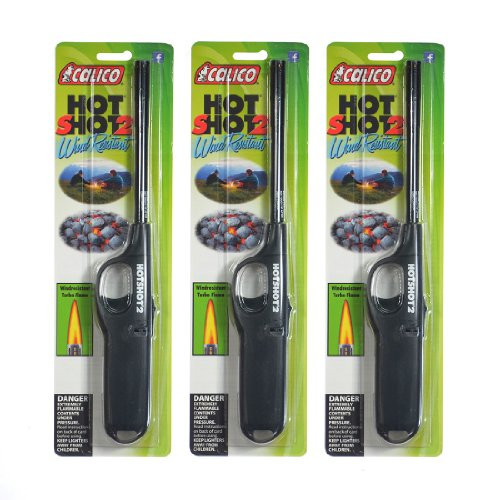 3 pack of Calico HOT SHOT 2 Wind Resistant Lighters by Calico
