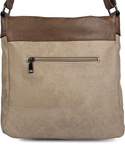styleBREAKER boucles devant 02012218 couleur bandoulière sac Vieux sacoche Marron avec rose sac sac unisexe à bandoulière en rfr4gq