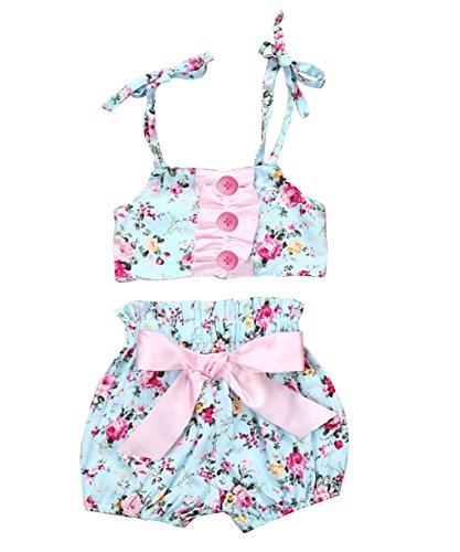 [Newborn Baby Girls Floral Sleeveless Tops Short Bottom Pants Outfits Clothes Set (6-12 months, floral)] (Bottom Sleeveless)