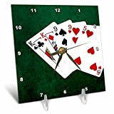 3dRose Alexis Photo-Art - Poker Hands - Poker Hands Two Pairs King, Nine - 6x6 Desk Clock (dc_270530_1)