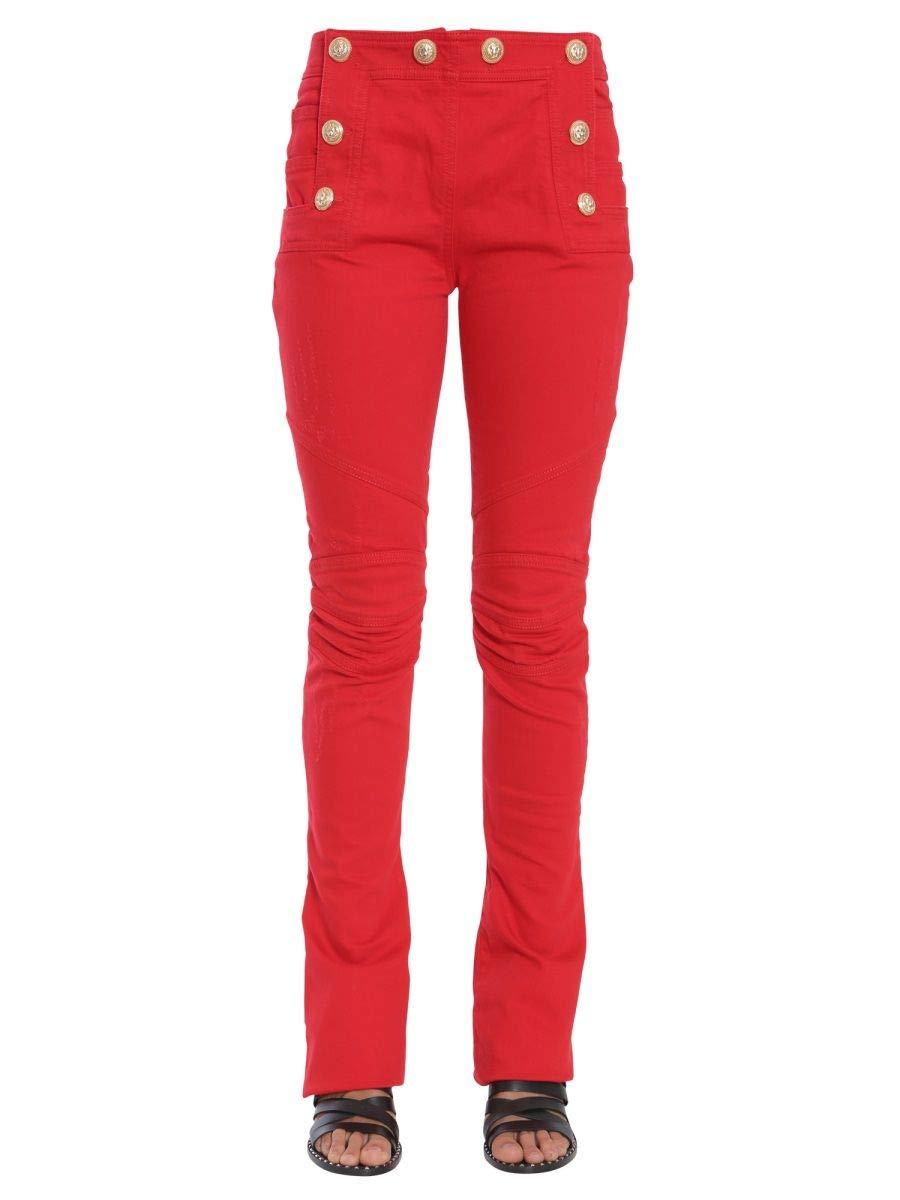 Balmain Women's 5465360NC1760 Red Cotton Pants
