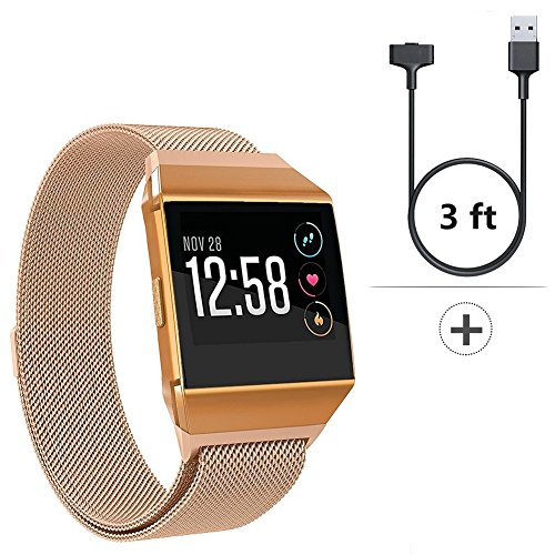 For Fitbit Ionic Bands-Ionic Watch Accessory Band Small Large,2 in 1 Stainless Steel Milanese Loop Metal Replacement Strap with Case/Charging Cable for Fitbit Ionic,Silver Black Rose Gold Men Women (Ptc Gold Cables)