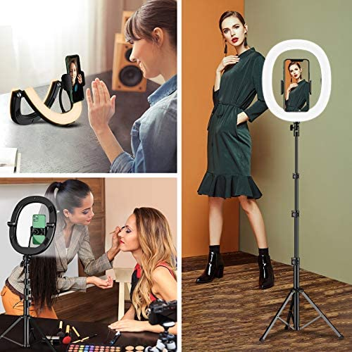 "Bcway 10.2"" Selfie Ring Light with Tripod Stand and Phone Holder, Portable Foldable Led Ringlight, 3 Color Modes, Bluetooth Control, 50"" Height, Carrying Bag, for Photography/Makeup/Vlog/Live Stream"