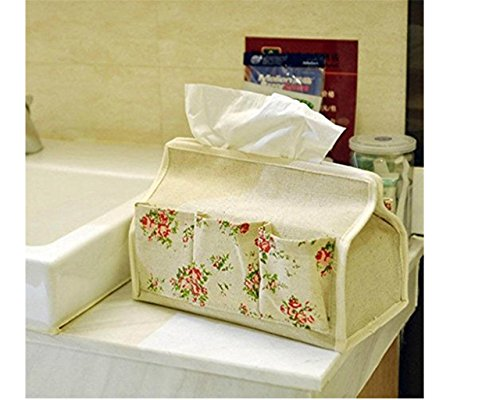 Starsource Multifunction Signature Cotton Floral Print Pumping Carton Tissue Pumping Paper Storage Box Paper Tissue Holder Napkin Box Tissue Case Tissue Cover Home Decor With 6 Pockets
