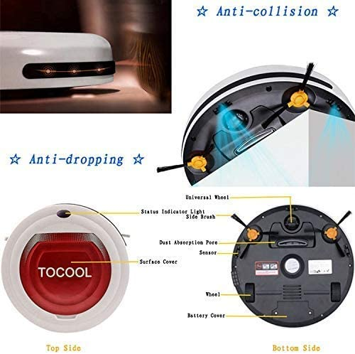 CHUTD TC-350 Aspirateur Intelligent Robot de Nettoyage de Balayage Domestique avec Télécommande (Couleur: Bleu) Red