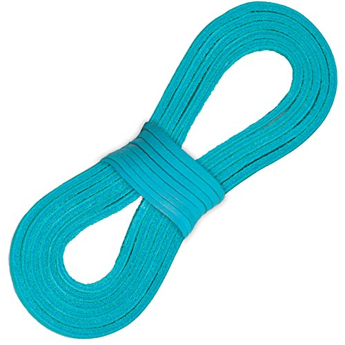 Leather Laces For Boots, Boat Shoes, Arts & Crafts - 72 Inch - Just Cut to Fit (Aqua)