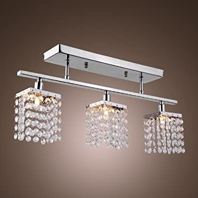 SALE! US STOCK, LightInTheBox 3 Light Hanging Crystal Linear Chandelier with Solid Metal Fixture, Modern Flush Mount Ceiling Light Fixture for Entry, Dining Room, Bedroom
