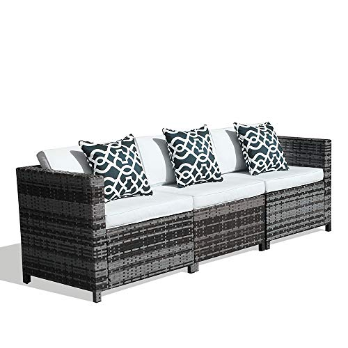 Patiorama 3-Seater Seating,Grey Wicker Sectional Furniture with Cream Cushion (Sectional Outdoor Ikea Furniture)