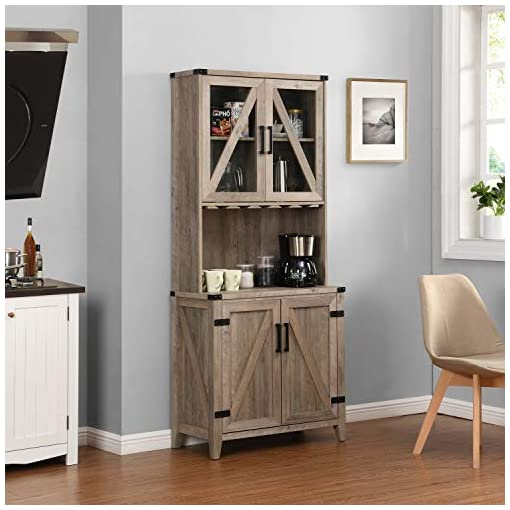 Home Bar Cabinetry Bar Cabinet with Upper Glass Cabinet (Grey WASH) home bar cabinetry