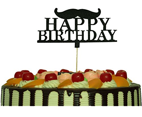 Happy Birthday Cake Topper Black with Mustache Little Man Party Decorations Supplies -