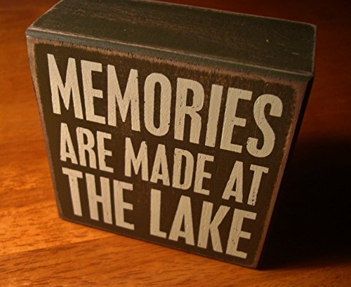 Memories Are Made At The Lake Rustic Lodge Log Cabin Home Decor Box Sign