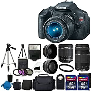 Canon EOS Rebel T3i 18 MP CMOS Digital SLR Camera USA warranty with canon EF-S 18-55mm f/3.5-5.6 IS [Image Stabilizer] II Zoom Lens & EF 75-300mm f/4-5.6 III Telephoto Zoom Lens + 58mm 2x Professional Lens +High Definition 58mm Wide Angle Lens + Auto Power Flash + UV Filter Kit with 24GB Complete Deluxe Accessory Bundle