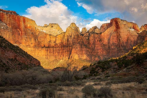 Landscape Photography Wall Art Print - Picture of the Towers of the Virgin in Morning Light in Zion National Park Utah Decor 5x7 to - Park National Photograph Utah