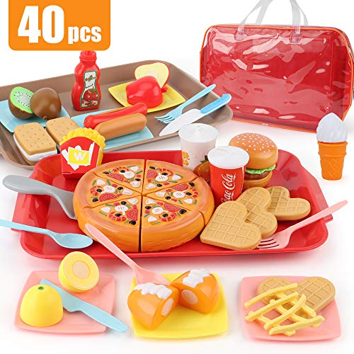 Sotodik 40PCS Play Food Pretend Play Fast Food Toys Set Cutting Pizza Hamburger Fruit Playset for Toddler Kid Boys Girls Toys(Double Tray)