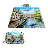 IMOBABY Venice Italy Large Waterproof Outdoor Picnic Blanket, Portable Folding Picnic Blanket Mat with Tote for Family Camping