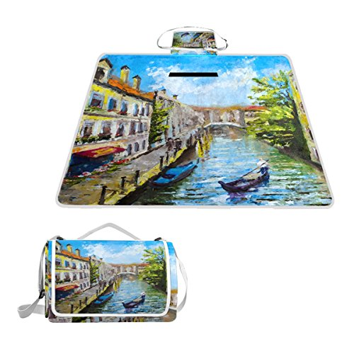 IMOBABY Venice Italy Large Waterproof Outdoor Picnic Blanket, Portable Folding Picnic Blanket Mat with Tote for Family Camping by IMOBABY
