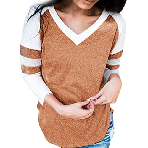 [S-XL] レディース Tシャツ Vネック ストライプ ステッチング 長袖 トップス おしゃれ ゆったり カジュアル 人気 高品質 快適 薄手 ホット製品 通勤 通学