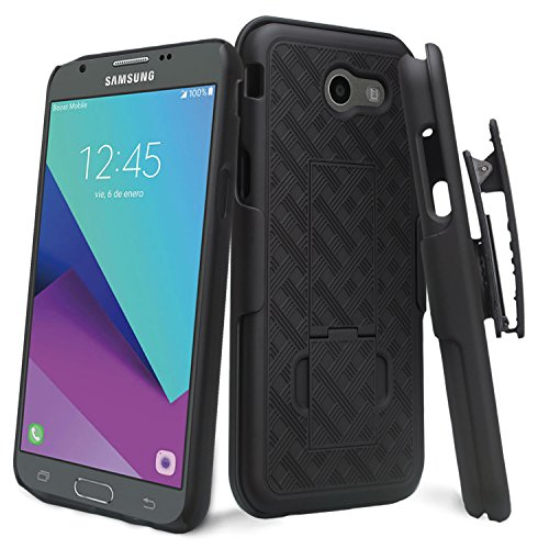 Wydan Holster Combo Case for Samsung Galaxy J3 Emerge Case / J3 2017 / Prime/Mission / Eclipse Case/Luna Pro/Sol 2 / Amp Prime 2 / Express Prime 2 - Shell Hard Belt Clip Stand Cover Black