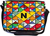 Rikki Knight Letter N Monogram Vibrant Colors Stained Glass Design Design Combo Multifunction Messenger Laptop Bag - with Padded Insert for School or Work - Includes Wristlet & Mirror