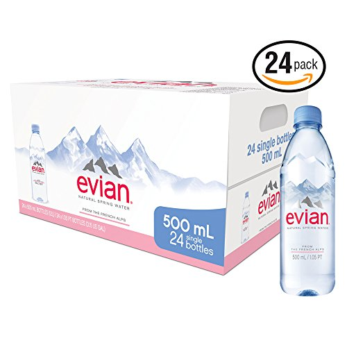 evian Natural Spring Water Bottles, Naturally Filtered Spring Water in Individual-Sized Plastic Bottles, 16.9 Fl Oz, Pack of 24