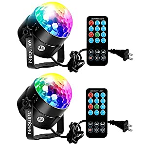 [2-PACK] Nequare Party Lights Sound Activated Disco Ball Party Light 7 Lighting Color Disco Lights with Remote Control for Bar Club Party DJ Karaoke Wedding Show and Outdoor