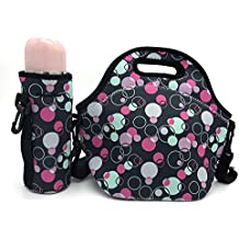 Wanty New Fashion Neoprene Insulated Waterproof Lunch Tote Bag Lunch Box Travel School Lunch Bags Grocery Bags Picnic Bags with Zipper and Handle Strap and Water Bottle Holder (Bubble)